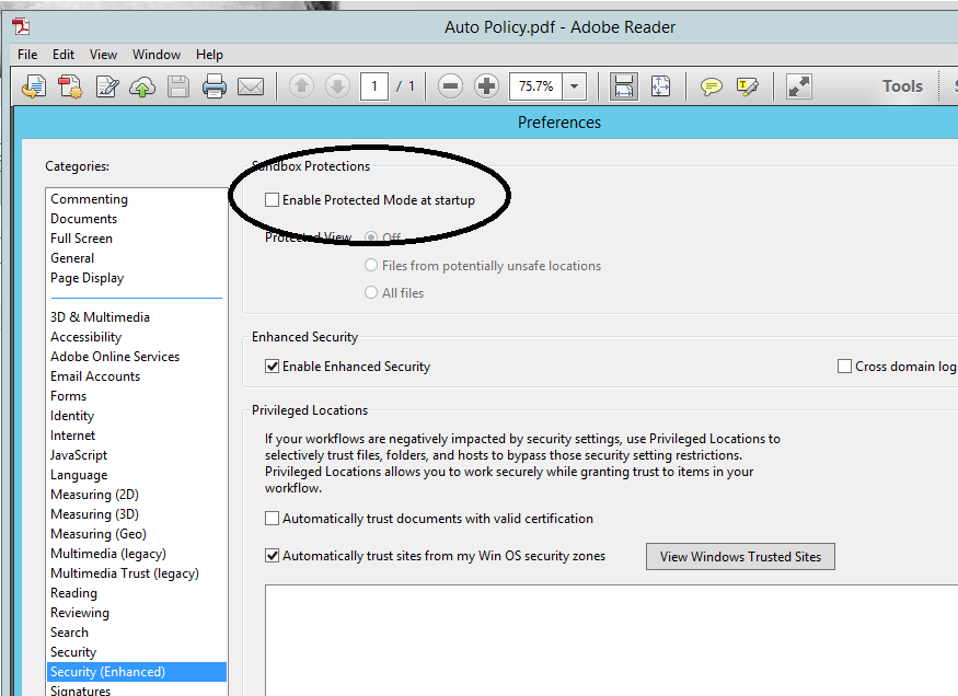 RDS 2012R2/Profile Disk: Adobe Reader X says \u201cThere was an error