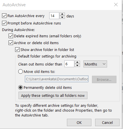 Outlook: How to delete emails after X number of days